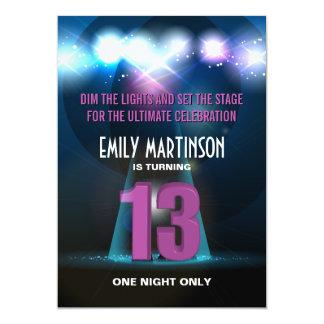 "Spotlight Star Purple 13th Birthday Party 5"" X 7"" Invitation Card"
