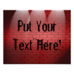 Spotlights On Brick Wall Poster Print Sign