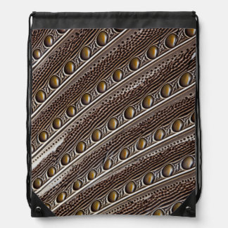 Spotted Argus pheasant feather Drawstring Bag