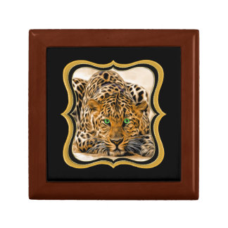 Spotted Bright green eye leopard looking at you Gift Box
