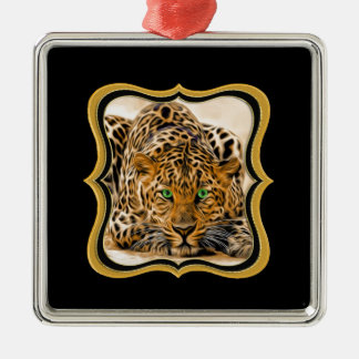 Spotted Bright green eye leopard looking at you Metal Ornament