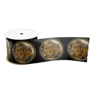 Spotted Bright green eye leopard looking at you Satin Ribbon