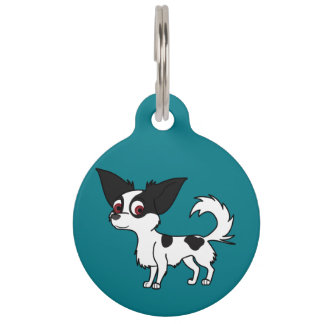 Spotted Chihuahua with Long Hair Pet Name Tag