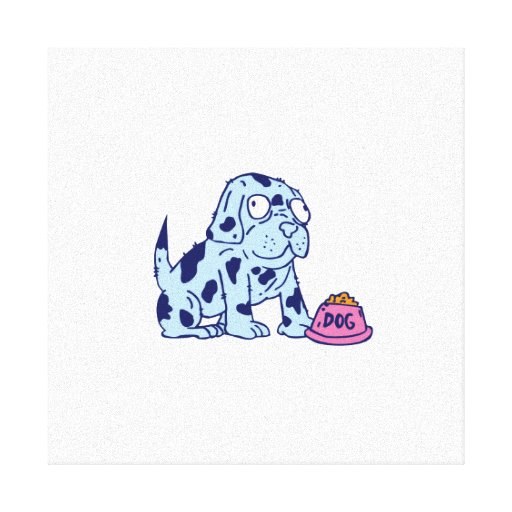 Spotted Dog Food Bowl Cartoon Gallery Wrapped Canvas