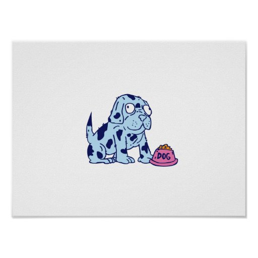 Spotted Dog Food Bowl Cartoon Poster