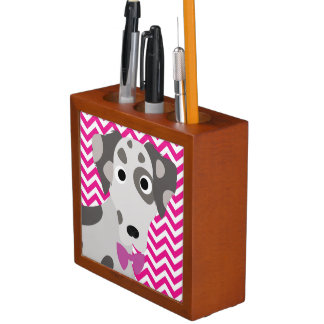 Spotted Dog Hot Pink and White Chevron Pattern Desk Organizer