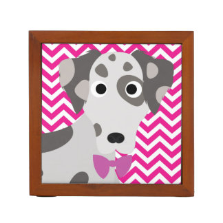 Spotted Dog Hot Pink and White Chevron Pattern Desk Organizers