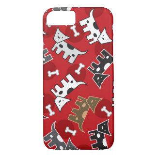 Spotted Doggies & Bones Puppy Cute Fun Red Casing iPhone 7 Case