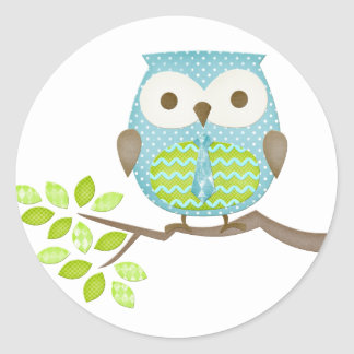 Spotted Executive Owl in Tree Round Stickers