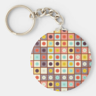 Spotted geometric pattern basic round button keychain