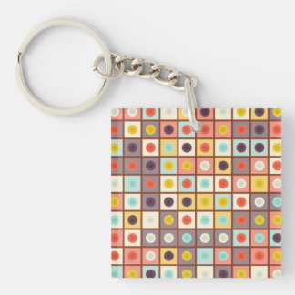 Spotted geometric pattern Double-Sided square acrylic keychain