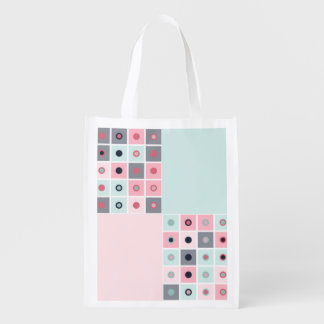 Spotted geometric pattern reusable grocery bag