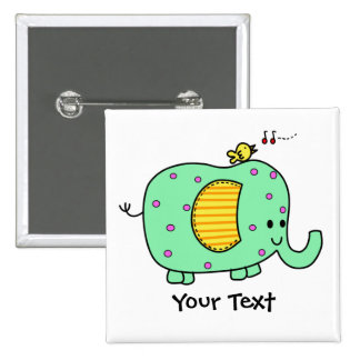 Spotted Green Elephant With Cute Birdie Pinback Buttons