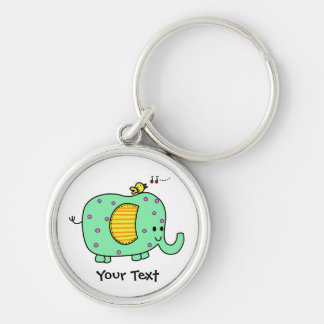 Spotted Green Elephant With Cute Birdie Silver-Colored Round Keychain
