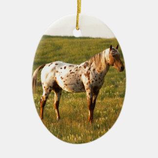 Spotted Horse Stallion Ceramic Ornament