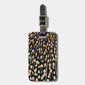 Spotted jungle cock feathers bag tag
