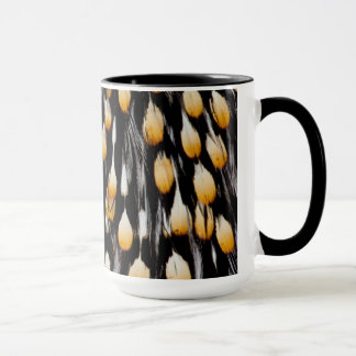 Spotted jungle cock feathers mug