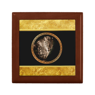 Spotted leopard looking at you with gold foil gift box