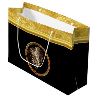 Spotted leopard looking at you with gold foil large gift bag