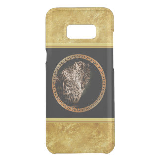 Spotted leopard looking at you with gold foil uncommon samsung galaxy s8 plus case