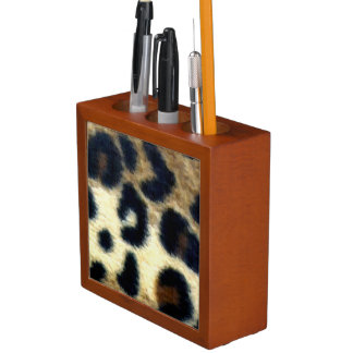 Spotted Leopard Print Desk Organizer