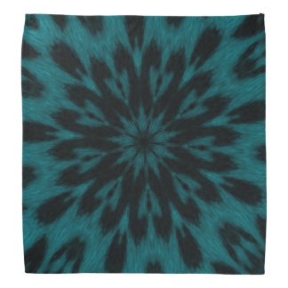 Spotted Leopard Turquoise Teal Kaleidoscope Bandana