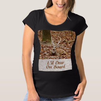Spotted Male Buck Deer With Antlers in Fall Forest Maternity T-Shirt