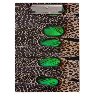 Spotted pheasant feather pattern clipboard