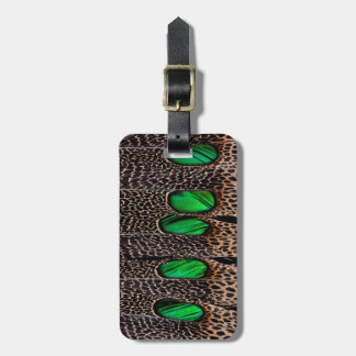 Spotted pheasant feather pattern luggage tag