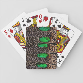 Spotted pheasant feather pattern playing cards