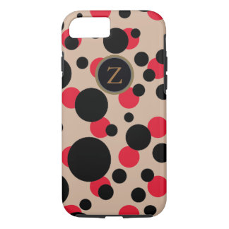 spotted red & black monogrammed iPhone 7 case