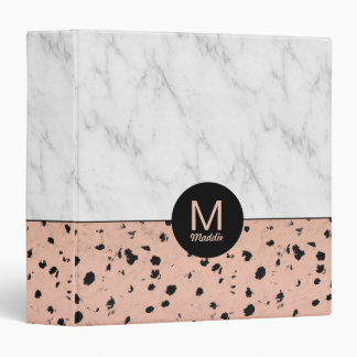Spotted Rose Gold and Marble with Monogram 3 Ring Binders