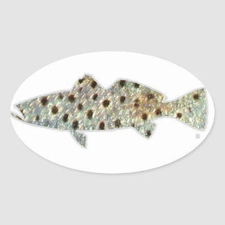"Spotted ""Speckled"" Seatrout by Patternwear© Oval Sticker"