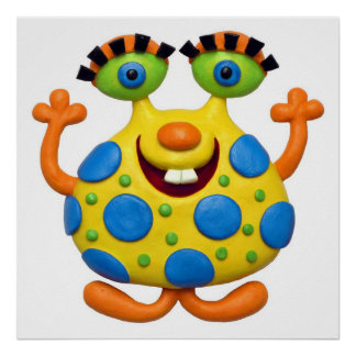 Spotted Yellow Monster Baby Boy Shower Nursery Poster