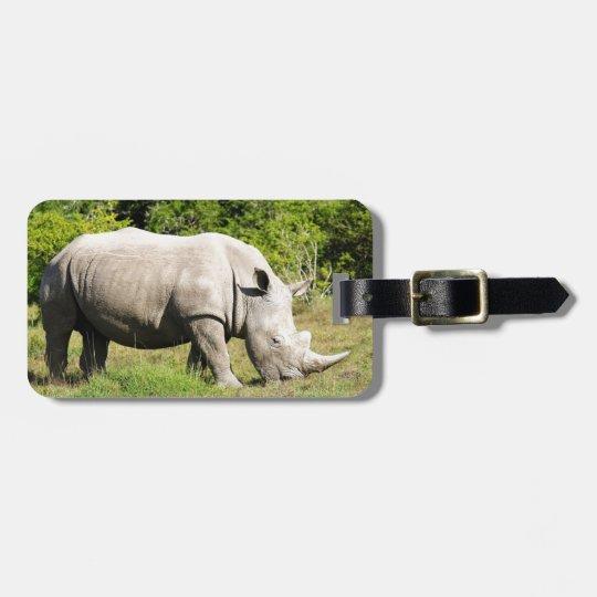 Spotting a Rhino feeding whilst on Safari Bag Tag