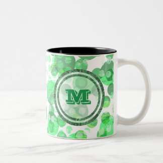 Spotty Distressed Green Monogram Two-Tone Coffee Mug