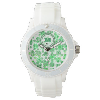 Spotty Distressed Green Monogram Watch