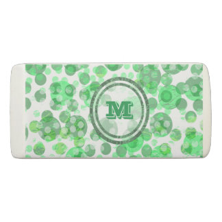 Spotty Green Monogram Eraser