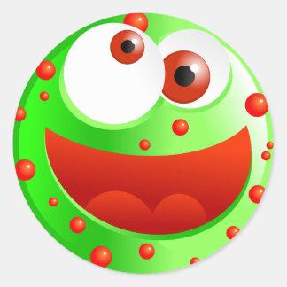 Spotty Green Smilie Round Sticker