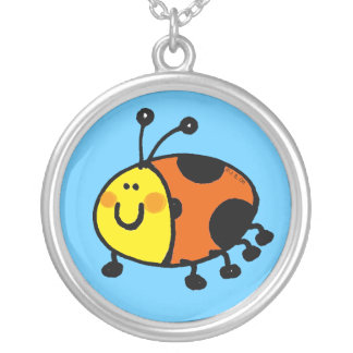 Spotty ladybug silver plated necklace