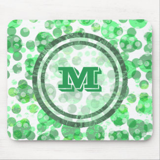 Spotty Polka Dot Distressed Green Monogram Mouse Pad