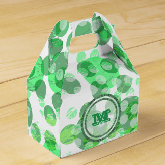 Spotty Polka Dot Distressed Green Monogram Party Favor Boxes