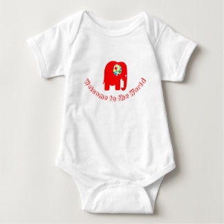 Spotty, red, gender neutral elephant bodysuit
