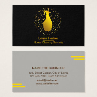 Spray Bottle Cleaning Service Home Gold Business Card