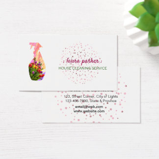 Spray Bottle Floral Cleaning Service Garden Business Card
