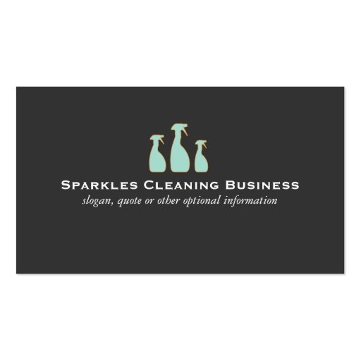 Spray Bottle Logo Elegant Cleaning Service Business Card Templates