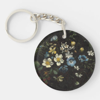 Spray of Flowers and Ferns by Titian Ramsay Peale Keychain