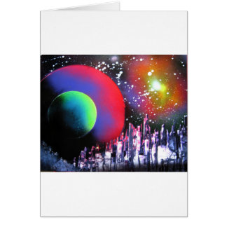 Spray Paint Art City Space Landscape Painting Card