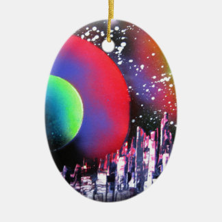 Spray Paint Art City Space Landscape Painting Ceramic Ornament