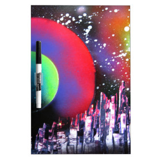 Spray Paint Art City Space Landscape Painting Dry Erase Board